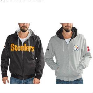 NFL Pittsburgh Steelers Reversible Hooded Jacket L